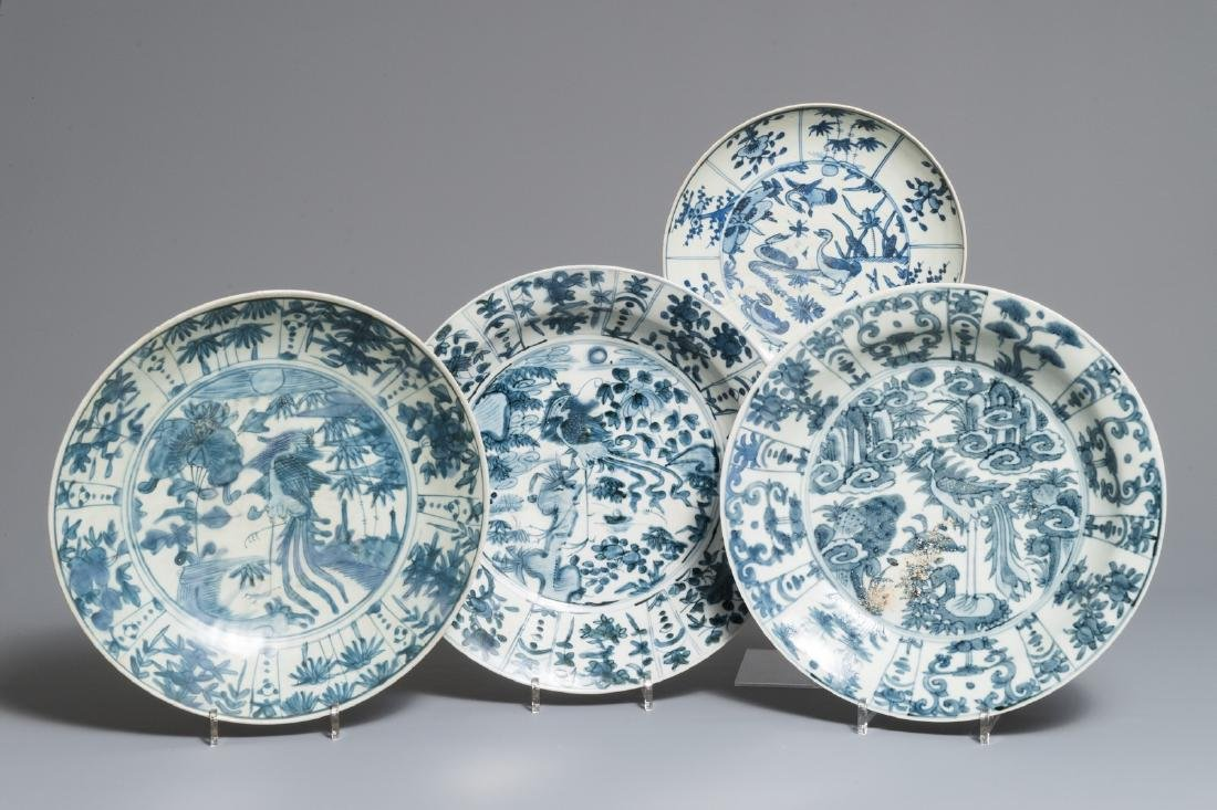 Four Chinese blue and white Swatow dishes, Ming