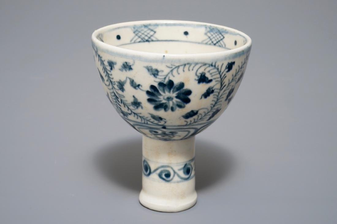 A Vietnamese blue and white stem cup, probably Le
