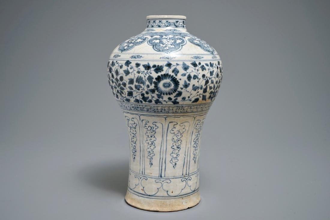 A Vietnamese blue and white vase with floral design,