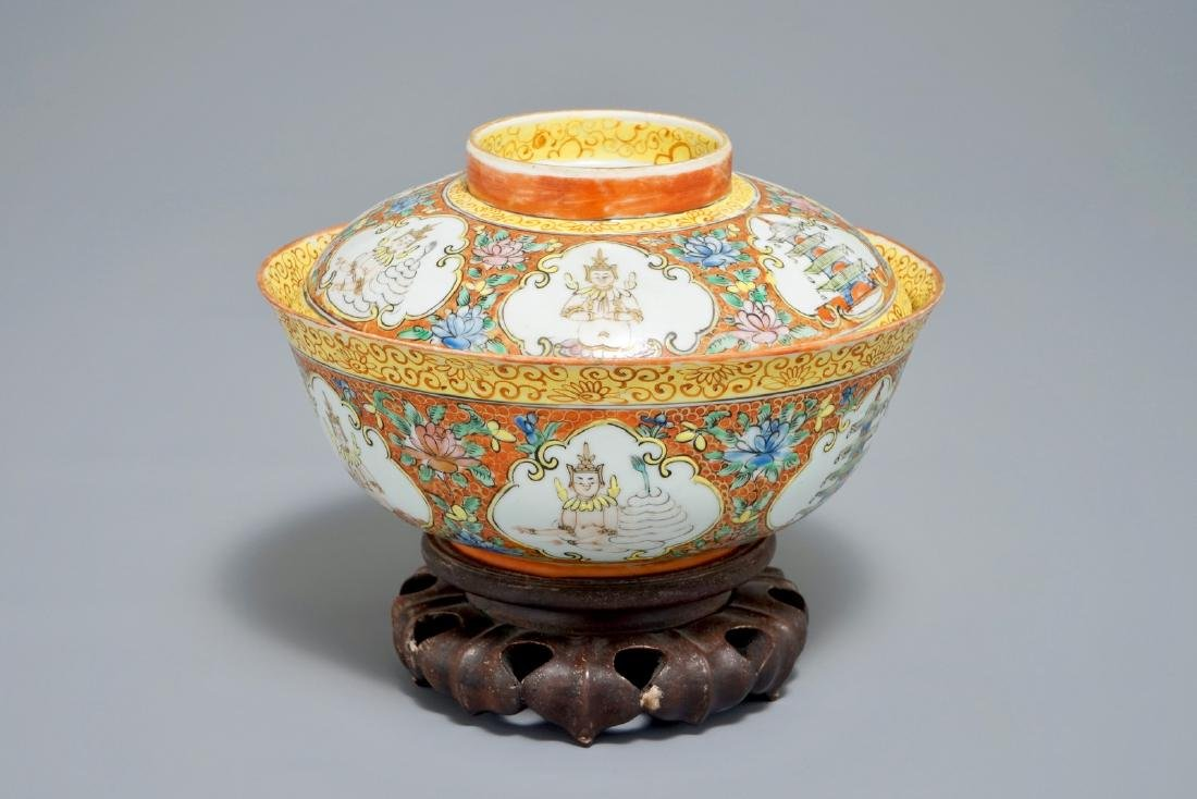 A Chinese Bencharong style bowl and cover for the Thai