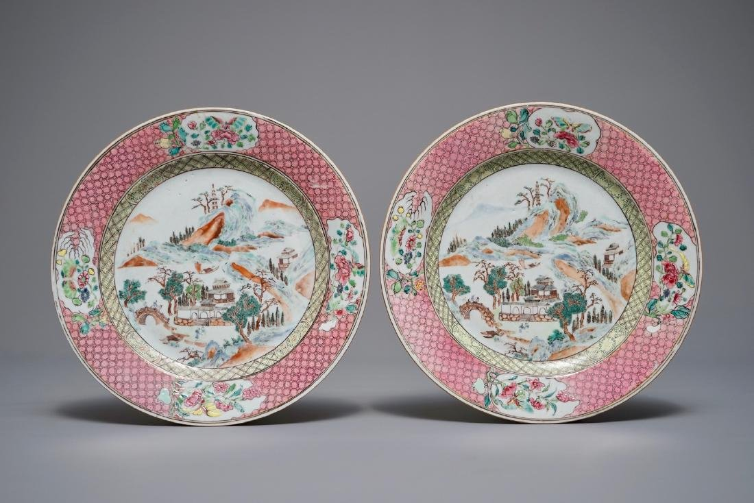 A pair of Chinese famille rose plates with mountainous
