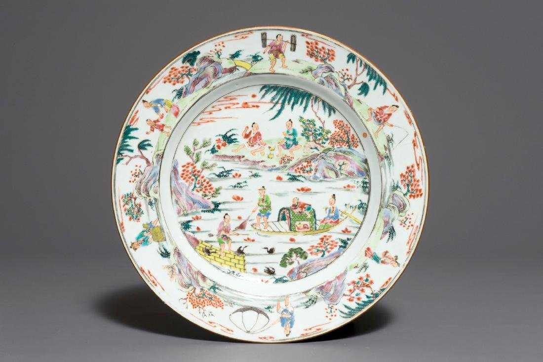 A fine Chinese famille rose dish with figures on a