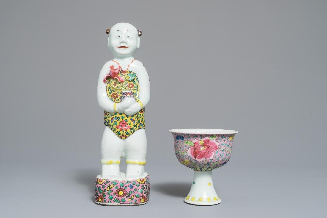 A Chinese famille rose stem cup and a Hoho twin figure,