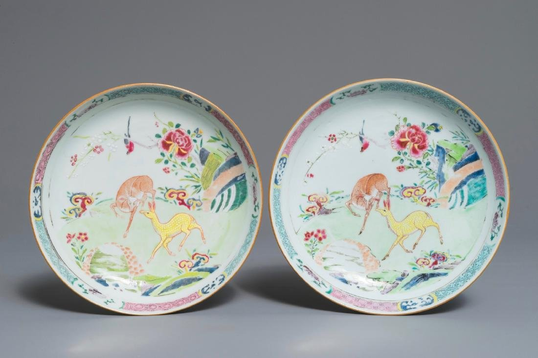 A pair of Chinese famille rose plates with deers,
