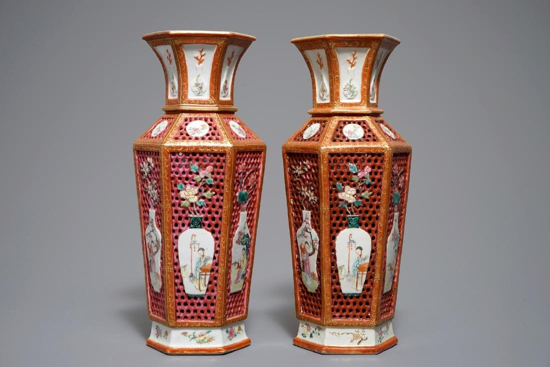 A pair of reticulated double-walled hexagonal Chinese