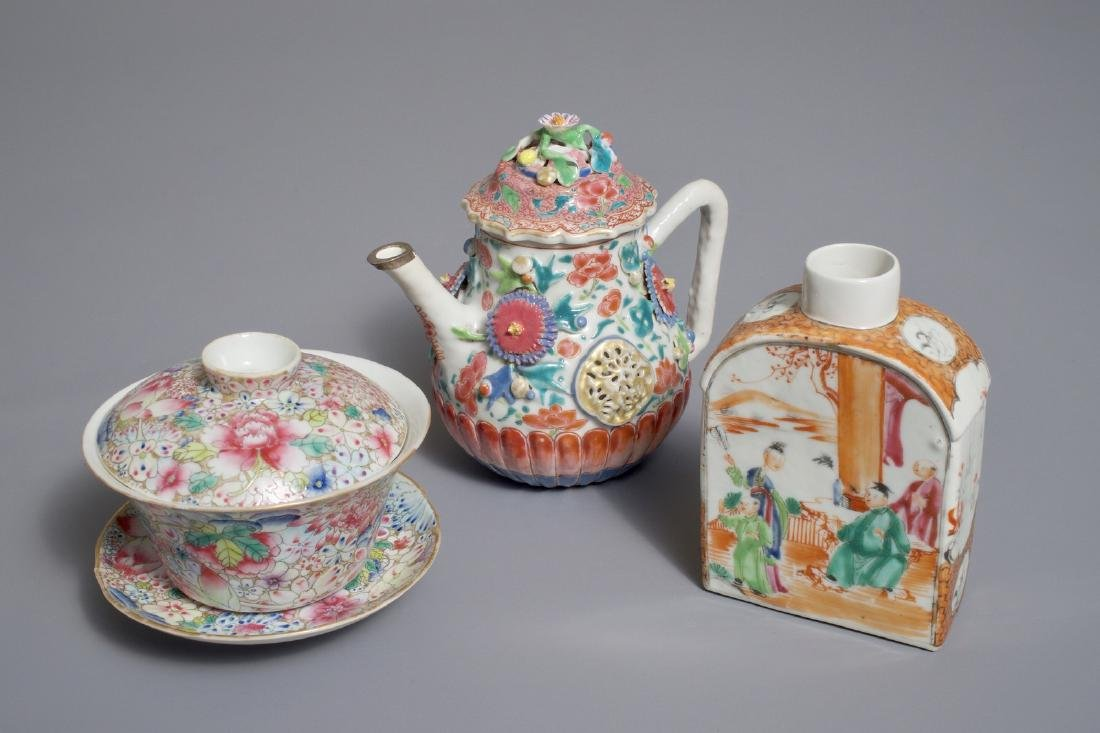 A Chinese famille rose teapot, a tea caddy and a