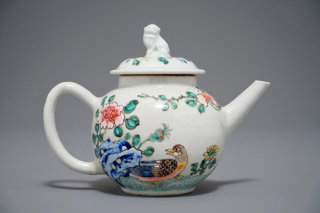 A Chinese famille rose teapot with a duck and a