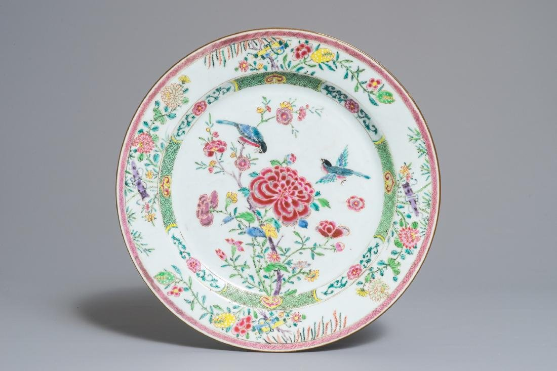 A Chinese famille rose dish with birds among peonies,
