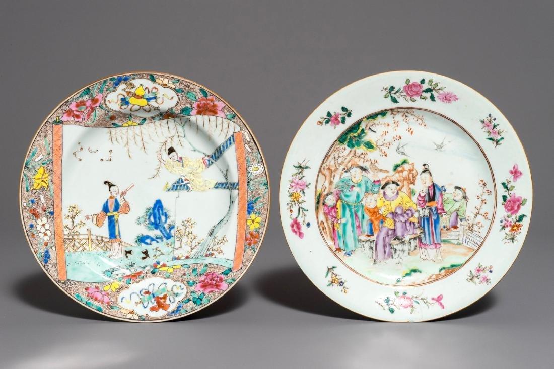 Two Chinese famille rose plates, Yongzheng/Qianlong