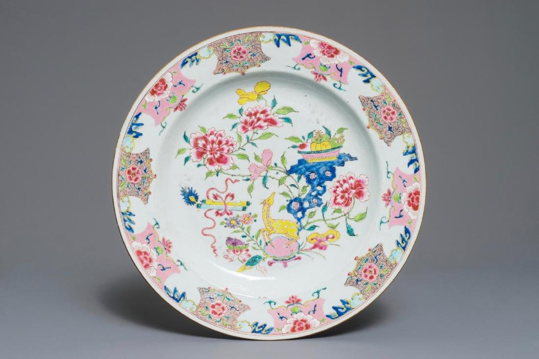 A Chinese famille rose dish with a deer among blossoms,