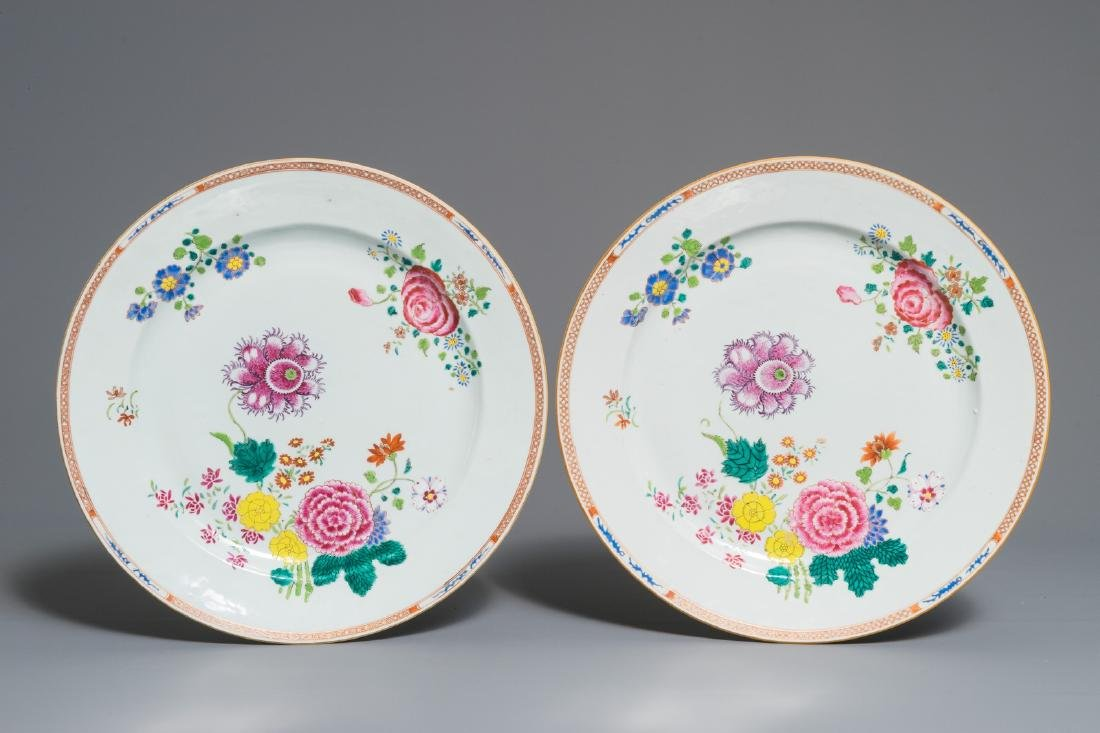Two Chinese famille rose dishes with floral design,