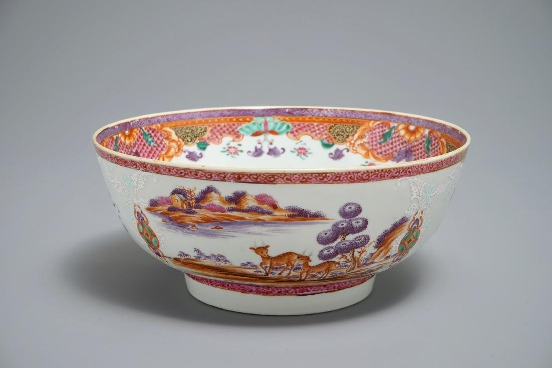 A Chinese famille rose export porcelain bowl with