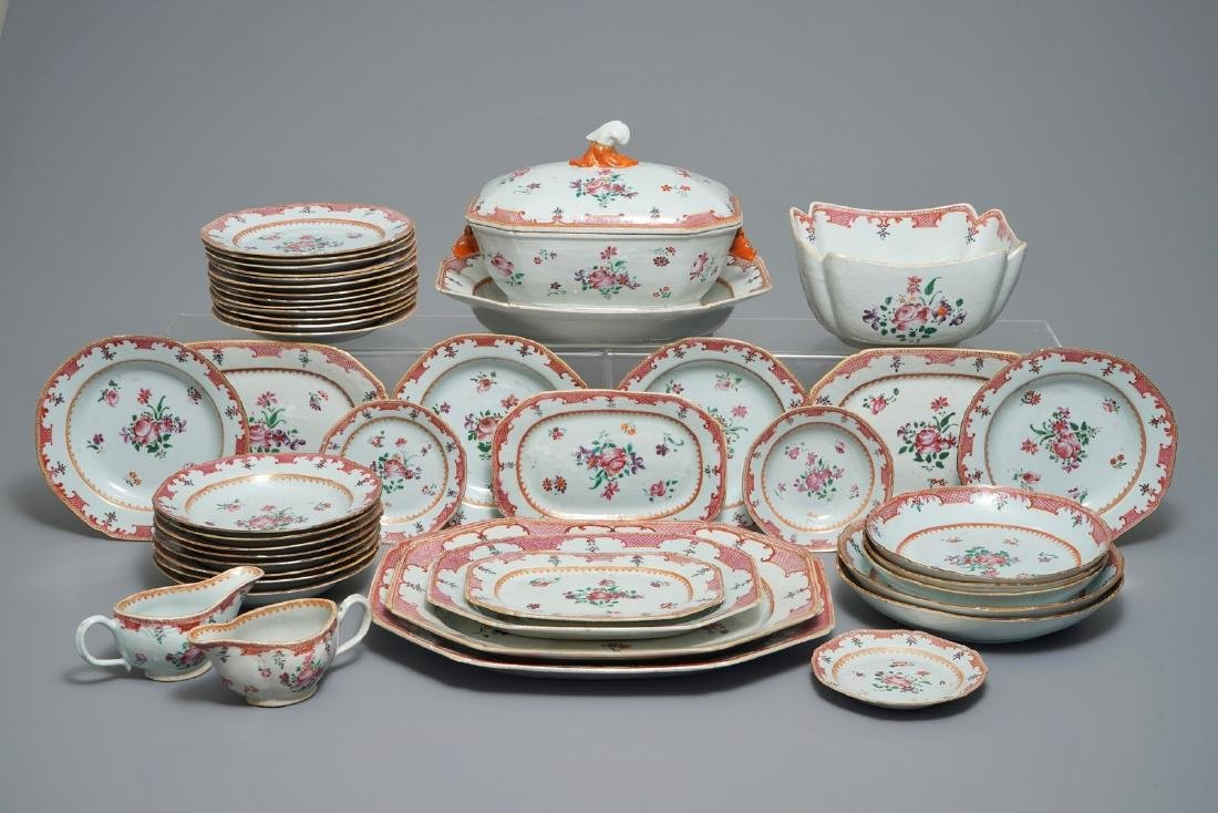 A 44-piece Chinese famille rose service, Qianlong