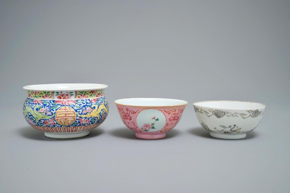 Two Chinese famille rose and grisaille bowls and an