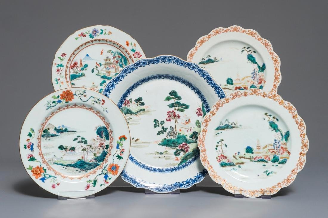 Four Chinese famille rose plates and a charger with
