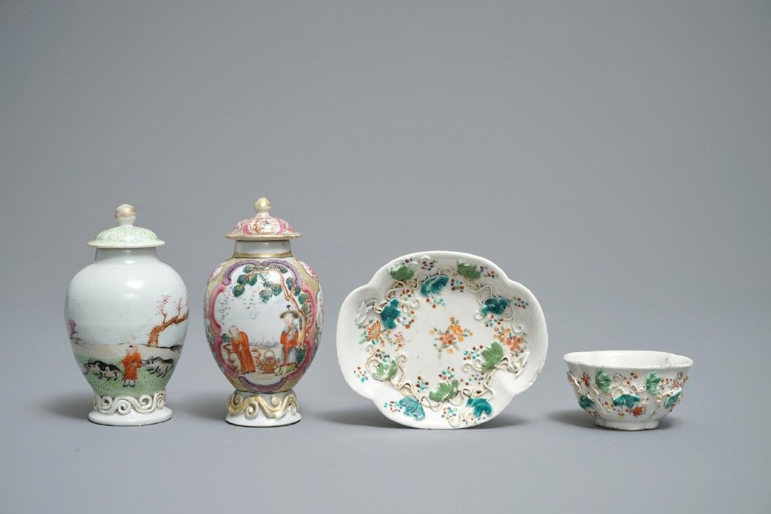 Two Chinese famille rose tea caddies and a