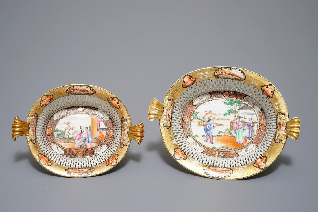 Two Chinese famille rose Rockefeller pattern