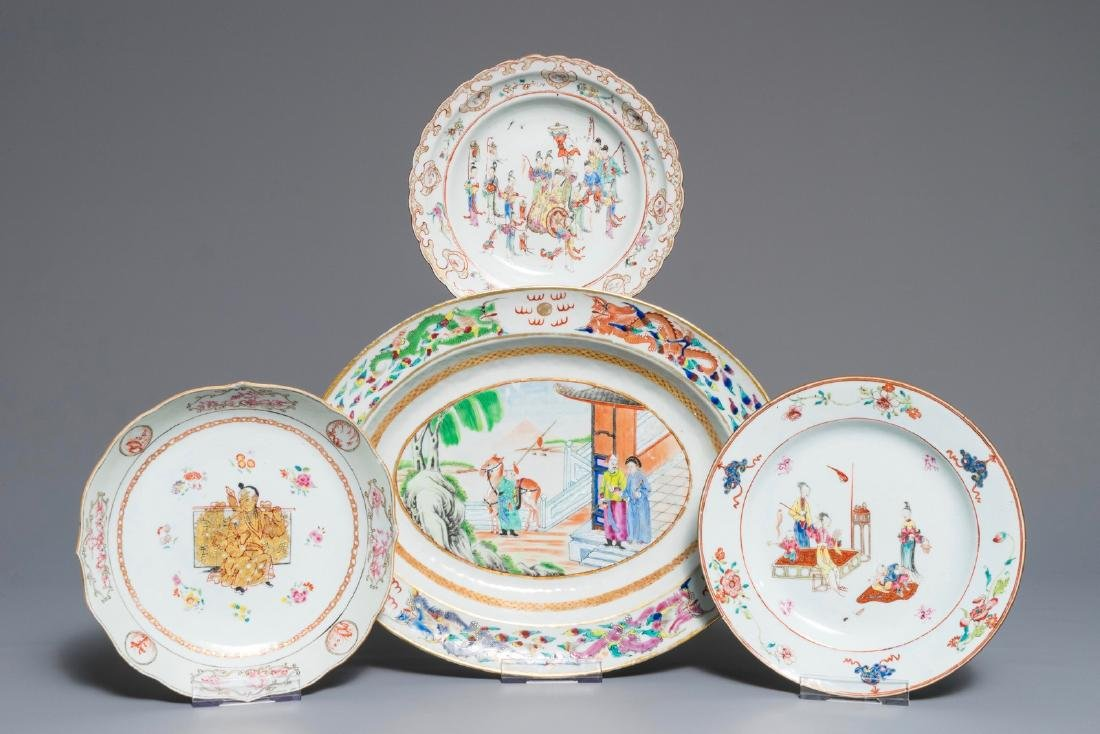 Three Chinese famille rose plates and an oval dish,