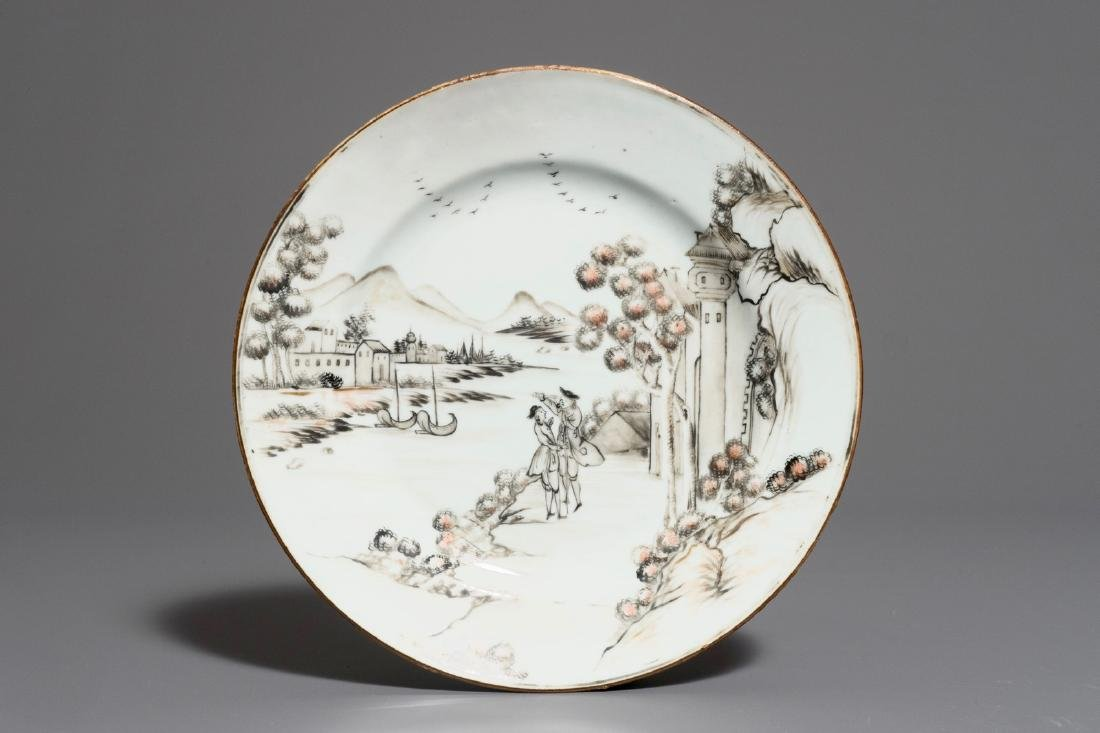 A Chinese grisaille plate depicting Europeans on a