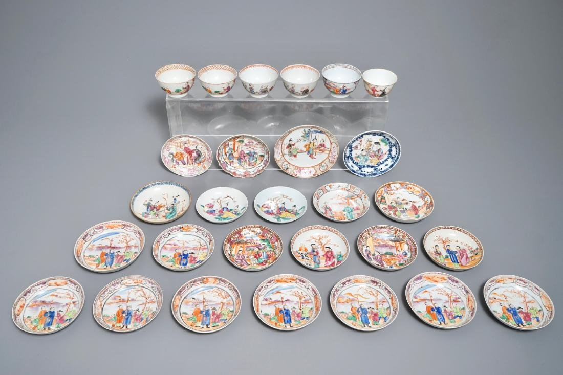 A collection of Chinese mandarin design cups and