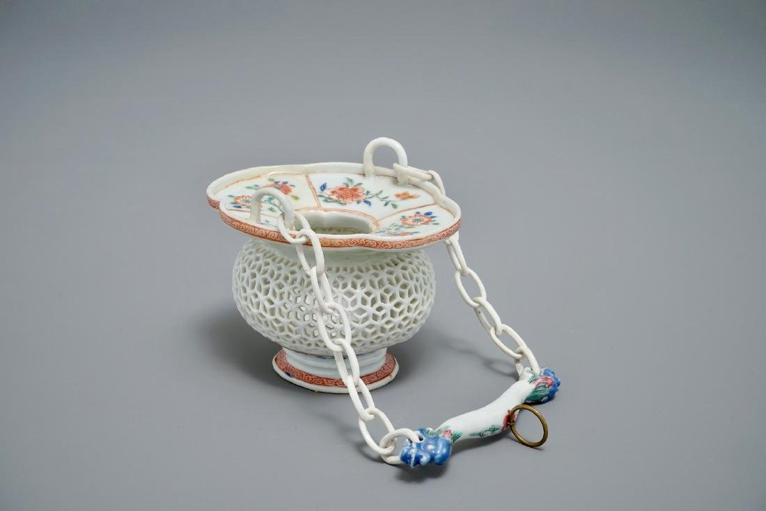 A rare Chinese famille rose reticulated hanging basket,