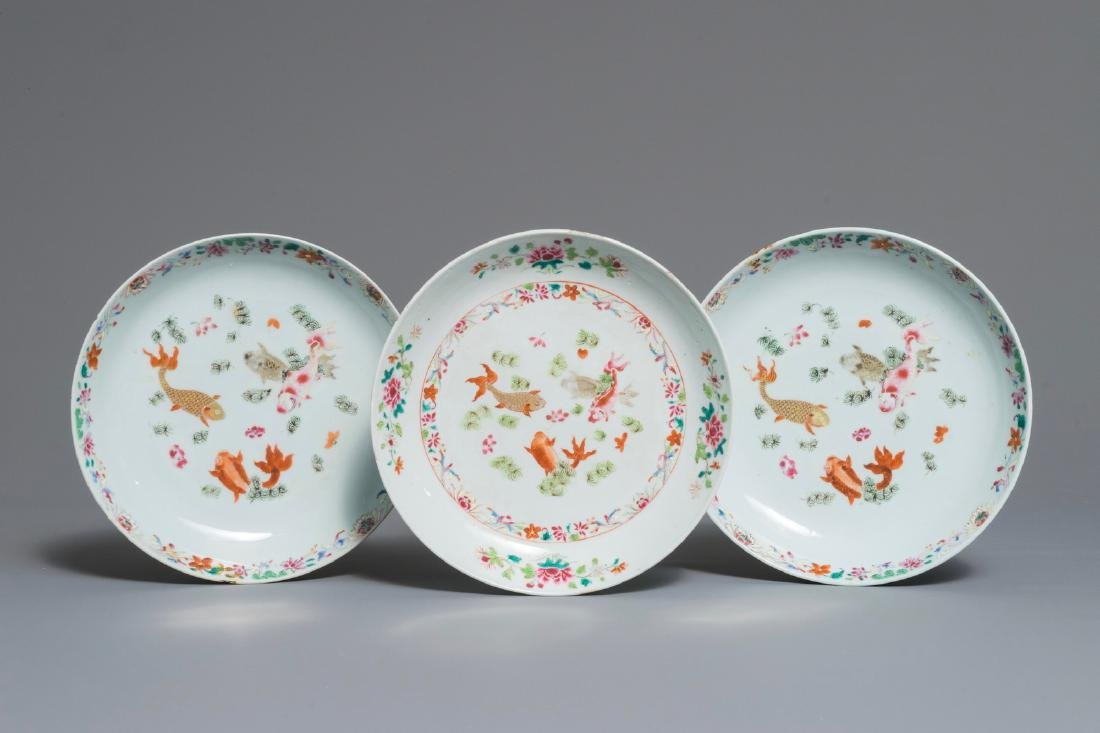 Three Chinese famille rose plates with carps, Qianlong