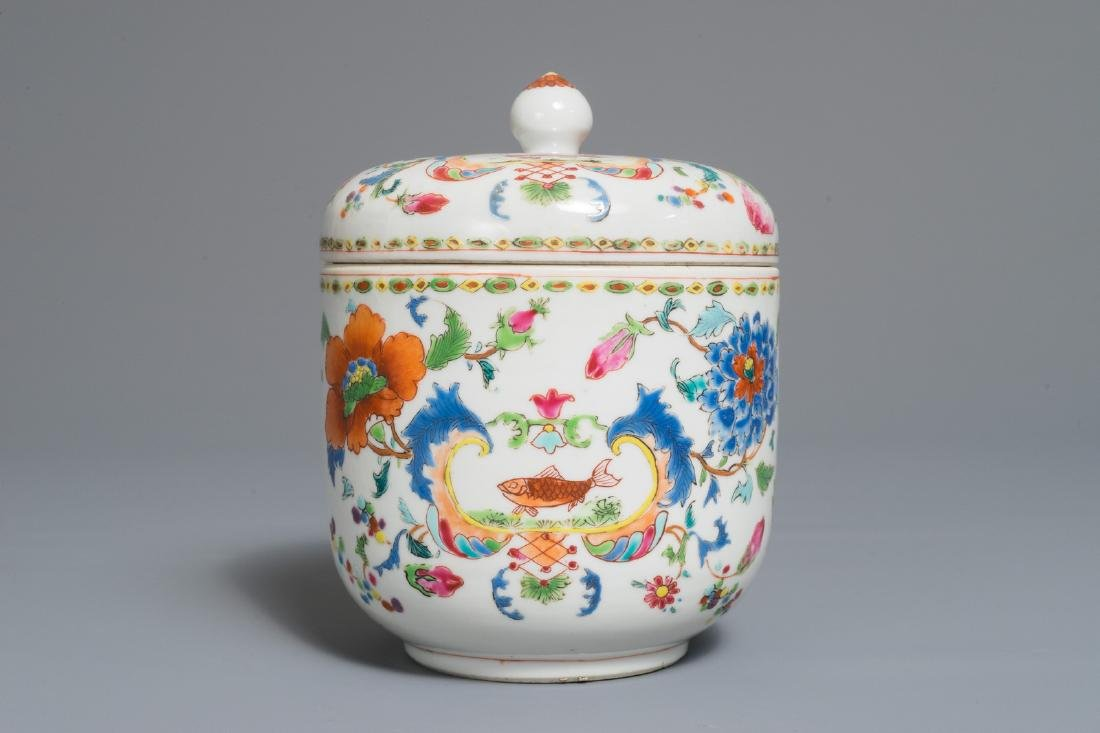 A Chinese famille rose 'Pompadour' bowl and cover,