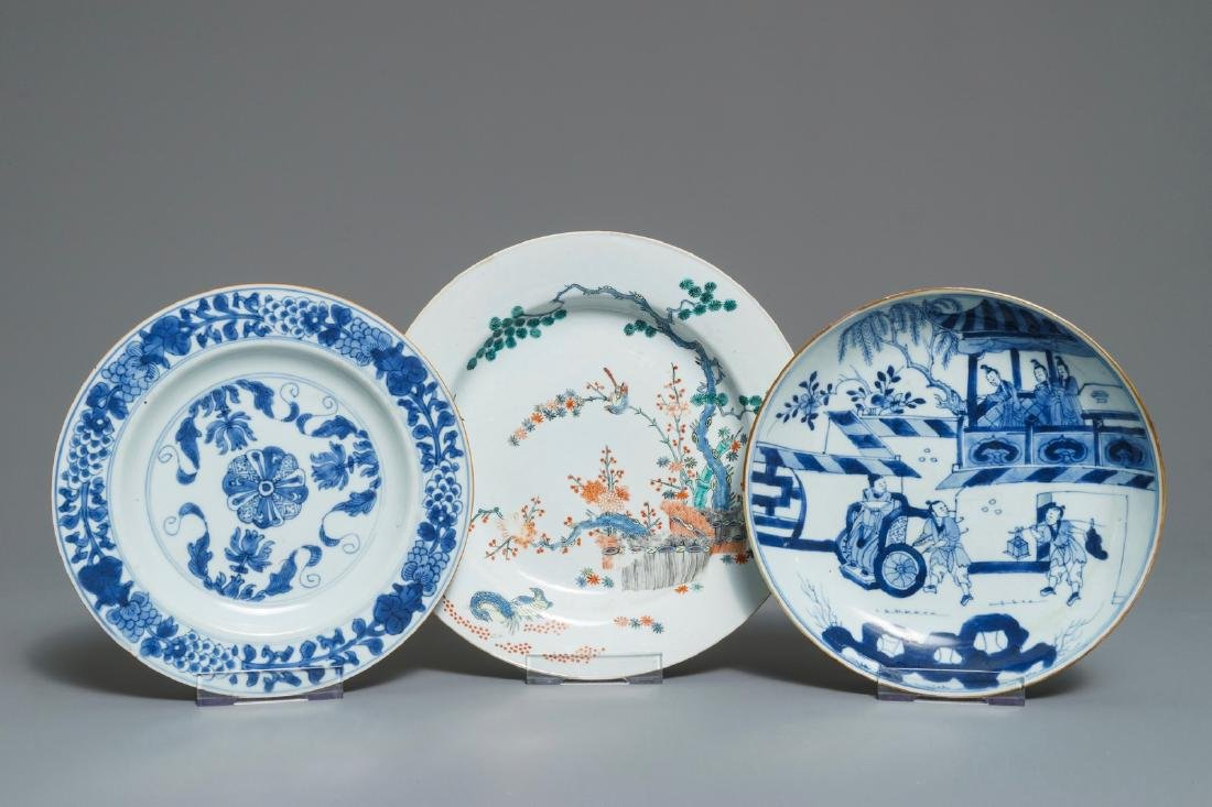 Three Chinese blue and white and Kakiemon-style plates,