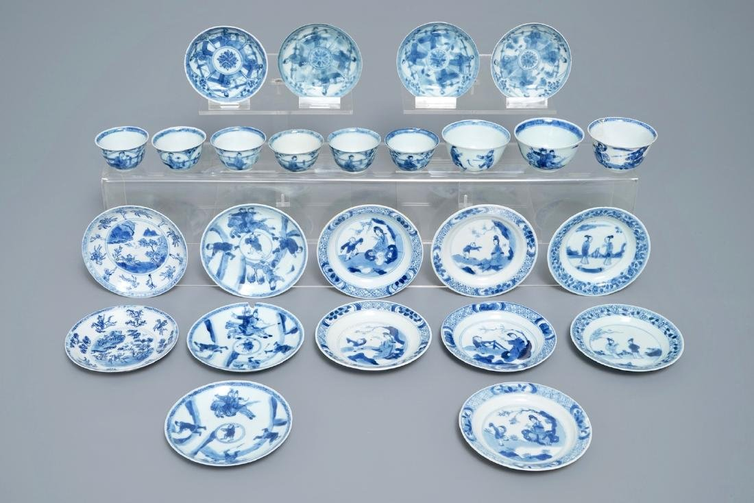 Sixteen Chinese blue and white saucers and nine cups,