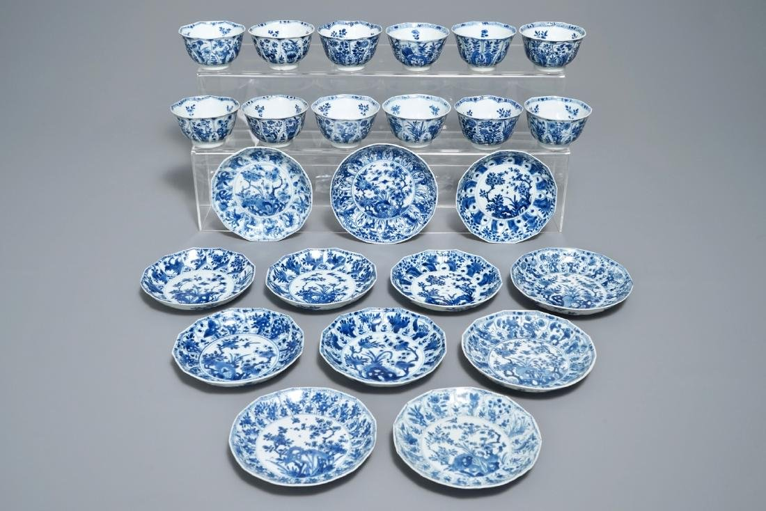 Twelve Chinese blue and white cups and saucers with