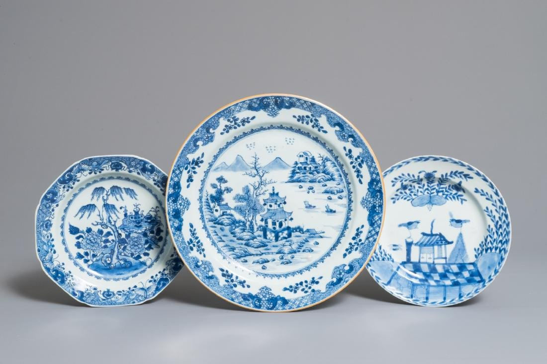 Three Chinese blue and white dishes, Qianlong