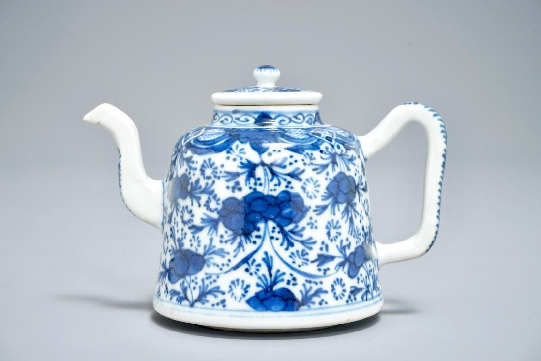 A Chinese blue and white teapot with floral design,