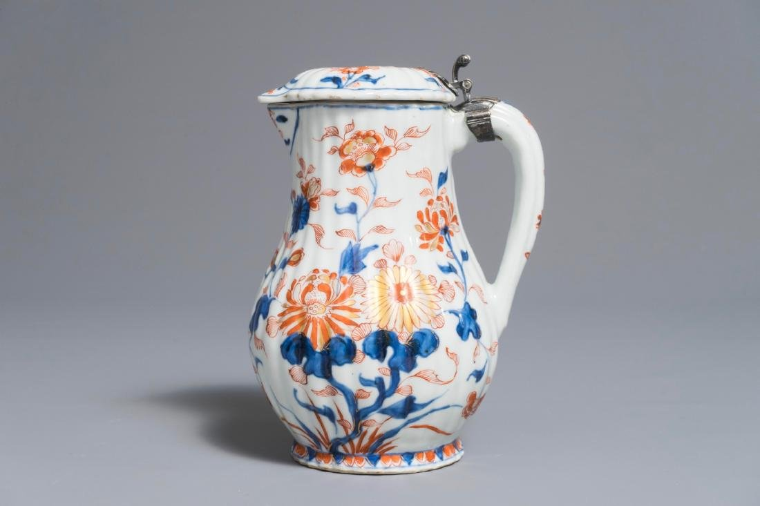 A Chinese Imari-style covered jug with French silver