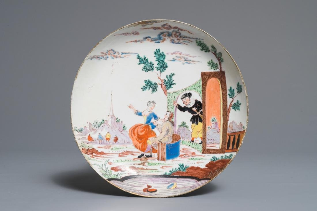 A Chinese Dutch-decorated Amsterdams bont plate with a
