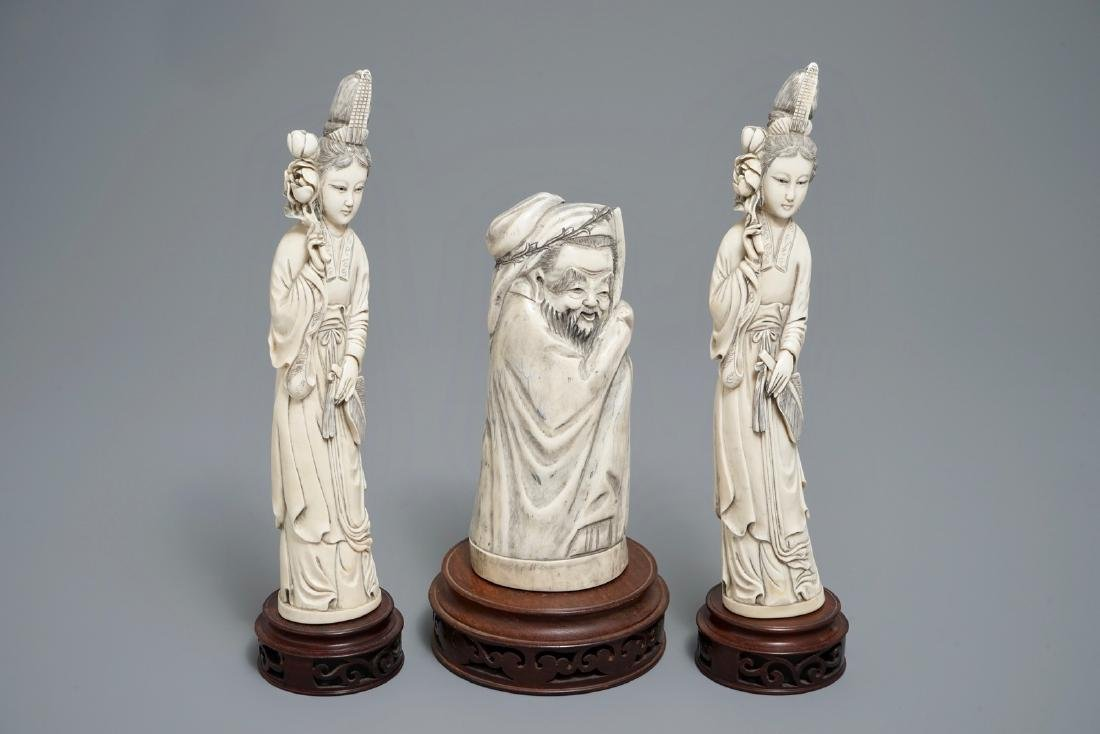 Three Chinese carved  figures of ladies and of an