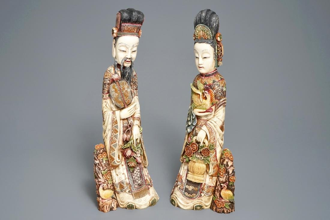Two Chinese polychrome carved  figures, 19th C.