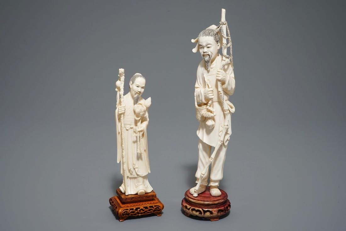 Two Chinese carved  figures on wooden bases, 19/20th C.
