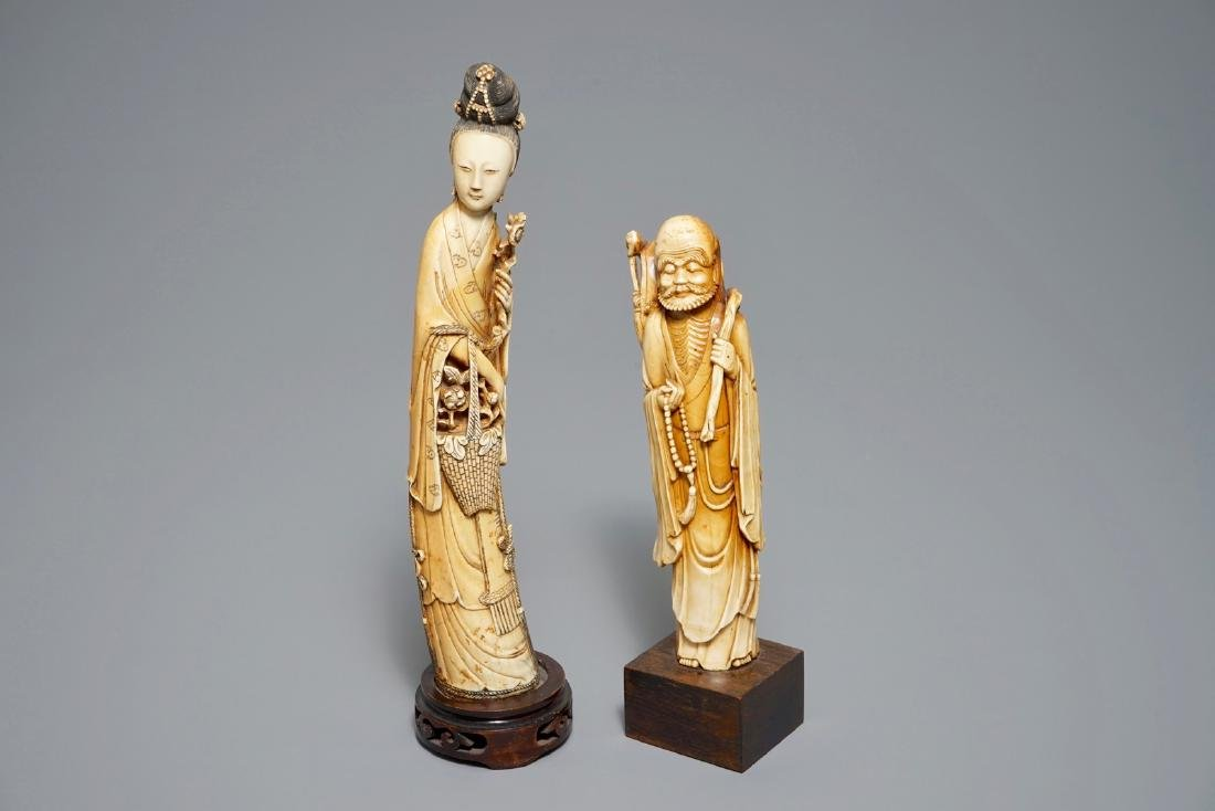 Two Chinese carved  figures on wooden bases, 18/19th C.