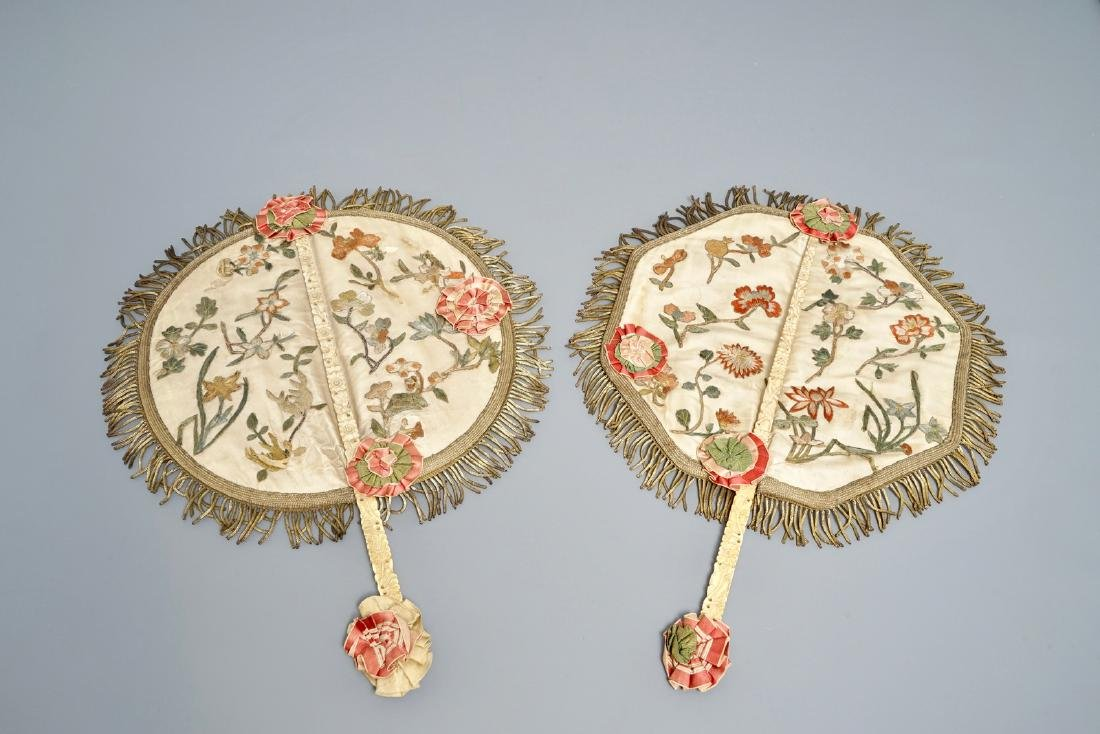Two Chinese -handled fans with embroidered silk and