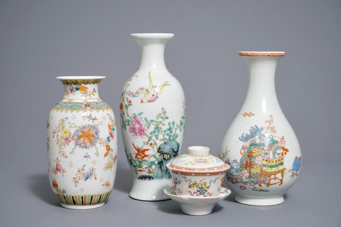 Three Chinese famille rose vases and a covered bowl on