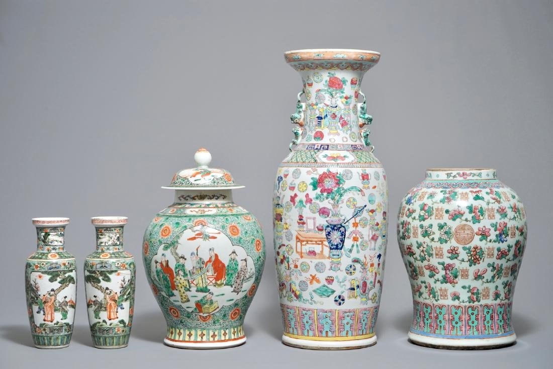Five Chinese famille rose and verte vases incl. a pair