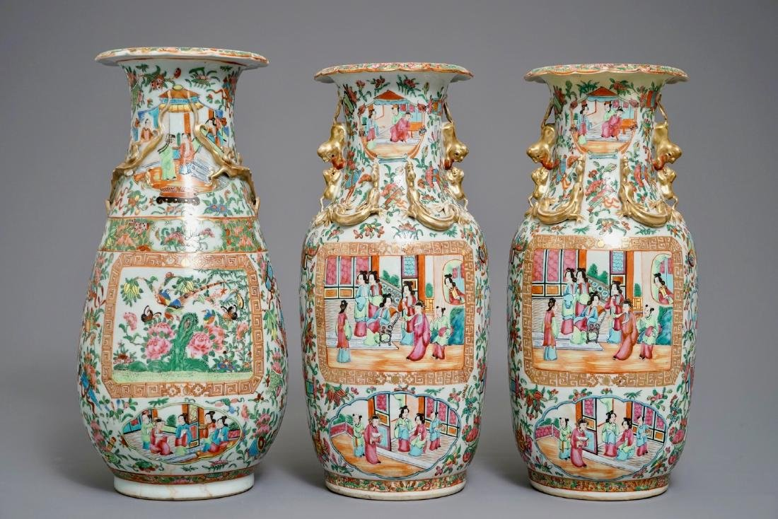 Three Chinese Canton famille rose vases, 19th C.