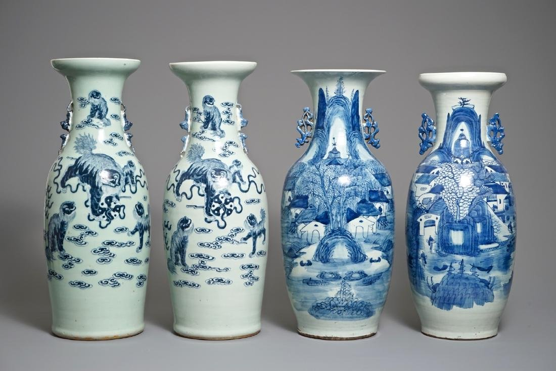Four Chinese blue and white on celadon-ground vases