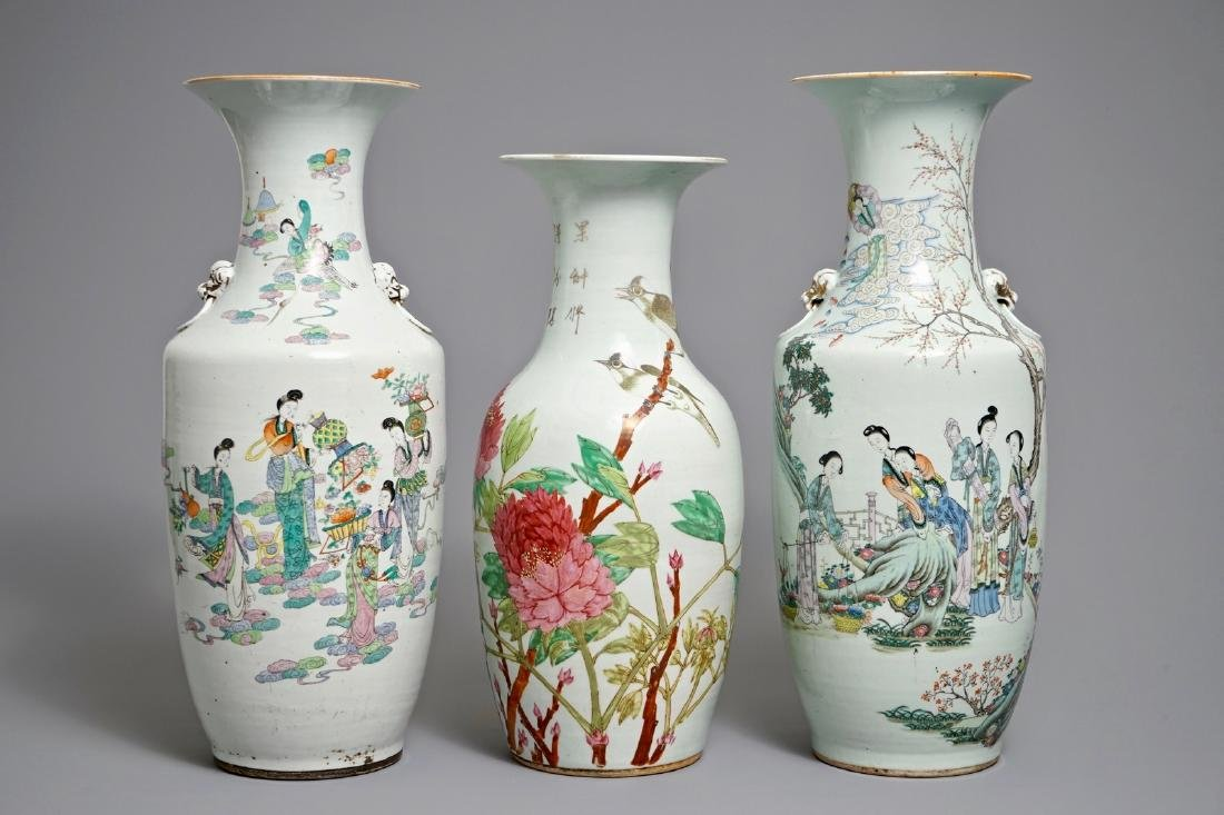 Three Chinese famille rose and qianjiang cai vases,