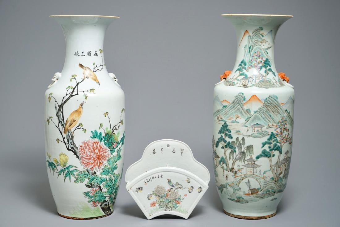 Two Chinese qianjiang cai vases and a wall hanger for