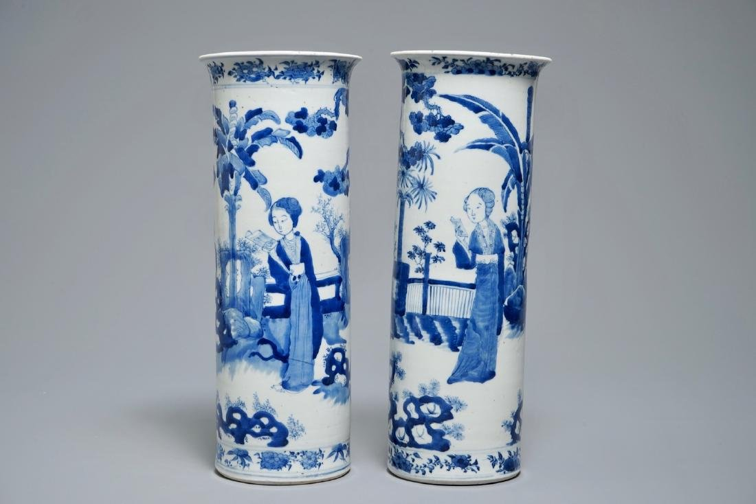 Two Chinese blue and white sleeve vases with ladies in