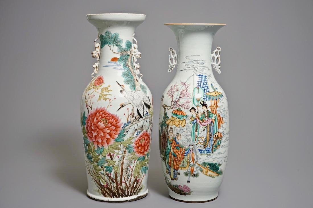 Two large Chinese qianjiang cai and famille rose vases,
