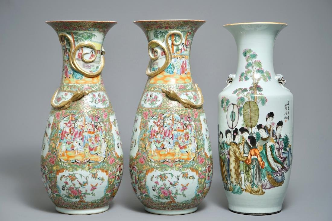 A pair of large Chinese Canton rose medallion vases and
