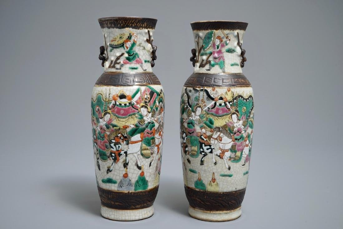 A pair of Chinese Nanking famille rose crackle-glazed
