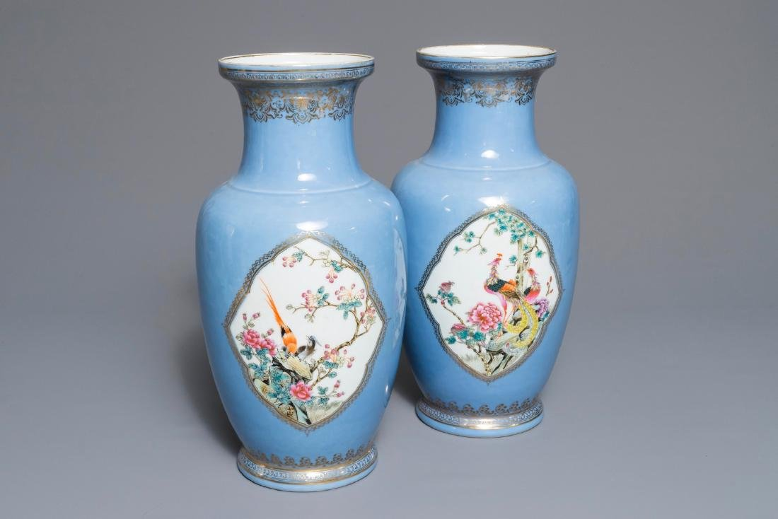 A pair of Chinese famille rose lavender-blue-ground